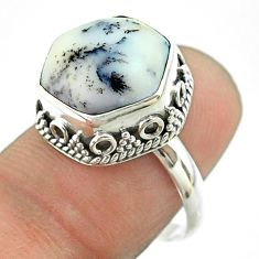 925 silver 6.30cts solitaire natural dendrite opal hexagon ring size 8 t55893