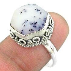 925 silver 6.04cts solitaire natural dendrite opal hexagon ring size 7.5 t55907