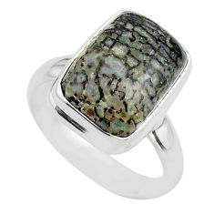 925 silver 6.54cts solitaire natural dinosaur bone fossilized ring size 7 t39087