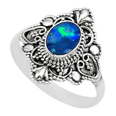 925 silver 0.91cts solitaire natural doublet opal australian ring size 10 t27157