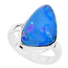 925 silver 4.82cts solitaire natural doublet opal australian ring size 6 t3434