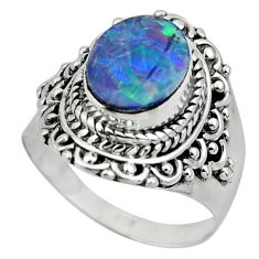 925 silver 3.67cts solitaire natural doublet opal australian ring size 7 r49544