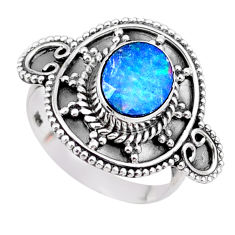925 silver 1.79cts solitaire natural doublet opal australian ring size 7 t27308