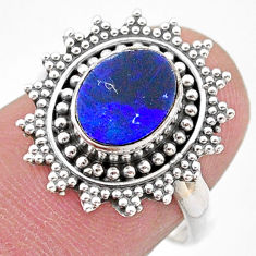 925 silver 1.94cts solitaire natural doublet opal australian ring size 7 t27407