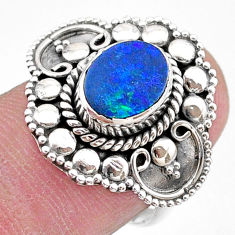 925 silver 1.70cts solitaire natural doublet opal australian ring size 7 t27419