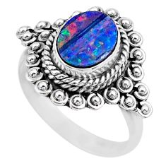 925 silver 1.94cts solitaire natural doublet opal australian ring size 7 t27564