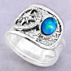 925 silver 1.11cts solitaire natural doublet opal australian ring size 7 t32472
