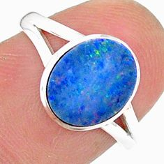 925 silver 2.42cts solitaire natural doublet opal australian ring size 7 t34618