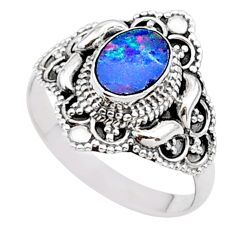 925 silver 0.97cts solitaire natural doublet opal australian ring size 8 t27127