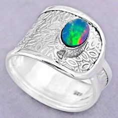 925 silver 1.12cts solitaire natural doublet opal australian ring size 8 t32483