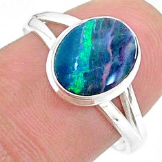 925 silver 2.46cts solitaire natural doublet opal australian ring size 8 t34635
