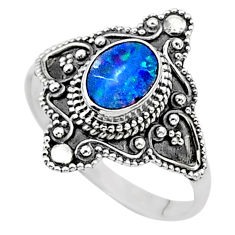 925 silver 0.97cts solitaire natural doublet opal australian ring size 9 t27159