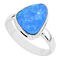 925 silver 4.82cts solitaire natural doublet opal australian ring size 9 t3410