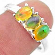 925 silver 2.46cts solitaire natural ethiopian opal oval ring size 7 t23824