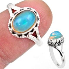 925 silver 2.90cts solitaire natural ethiopian opal oval ring size 7 t44505