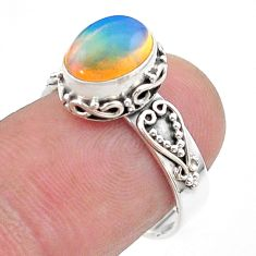 925 silver 3.11cts solitaire natural ethiopian opal oval ring size 7 t44729