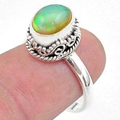925 silver 2.97cts solitaire natural ethiopian opal oval ring size 7 t44735