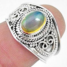 925 silver 2.17cts solitaire natural ethiopian opal oval ring size 7.5 t10273