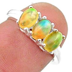 925 silver 2.27cts solitaire natural ethiopian opal oval ring size 5.5 t23840