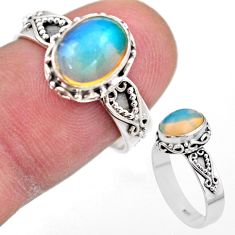 925 silver 3.07cts solitaire natural ethiopian opal oval ring size 7.5 t44509