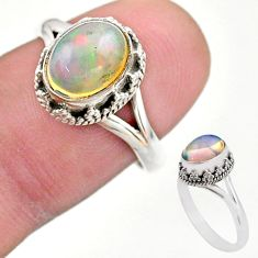 925 silver 3.10cts solitaire natural ethiopian opal oval ring size 7.5 t44538