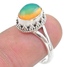 925 silver 3.10cts solitaire natural ethiopian opal oval ring size 7.5 t44732