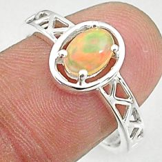 925 silver 1.47cts solitaire natural ethiopian opal oval ring size 8.5 t8878