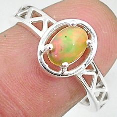 925 silver 1.51cts solitaire natural ethiopian opal oval ring size 7.5 t8896