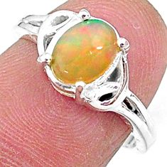 925 silver 2.26cts solitaire natural ethiopian opal oval ring size 6.5 t9092