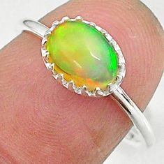 925 silver 1.92cts solitaire natural ethiopian opal oval shape ring size 7 t8997
