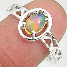 925 silver 1.46cts solitaire natural ethiopian opal oval shape ring size 8 t8891