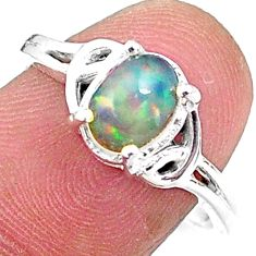 925 silver 2.27cts solitaire natural ethiopian opal oval shape ring size 8 t9099