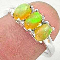 925 silver 2.73cts solitaire natural ethiopian opal ring jewelry size 7 t24008