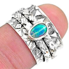 925 silver 0.65cts solitaire natural ethiopian opal spinner ring size 6 t31757