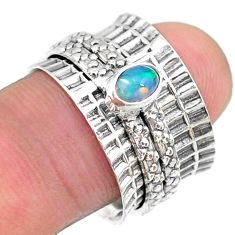 925 silver 0.74cts solitaire natural ethiopian opal spinner ring size 7.5 t31478