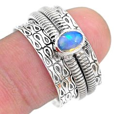 925 silver 0.77cts solitaire natural ethiopian opal spinner ring size 8.5 t31737
