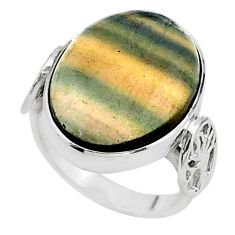 925 silver 16.41cts solitaire natural fluorite oval shape ring size 7.5 t15476