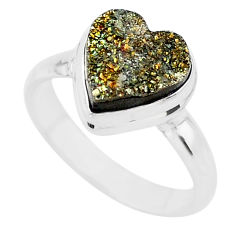 925 silver 5.08cts heart golden pyrite druzy handmade ring size 8 t21766