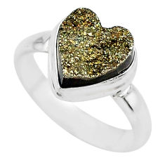925 silver 5.11cts heart golden pyrite druzy handmade ring size 8 t21773
