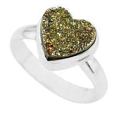 925 silver 5.11cts heart golden pyrite druzy handmade ring size 8 t21776