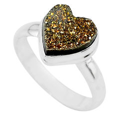 925 silver 5.36cts heart golden pyrite druzy handmade ring size 9 t21768