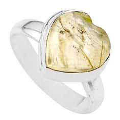 925 silver 4.64cts heart natural golden tourmaline rutile ring size 6 t21728