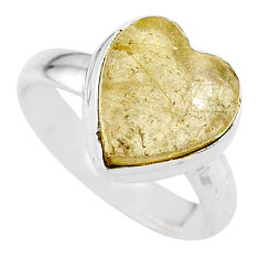 925 silver 4.67cts heart natural golden tourmaline rutile ring size 6 t21732