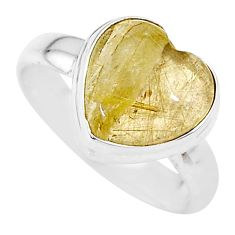 925 silver 4.18cts heart natural golden tourmaline rutile ring size 6 t21739