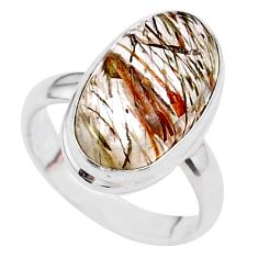 925 silver 7.60cts solitaire natural golden tourmaline rutile ring size 6 t27627