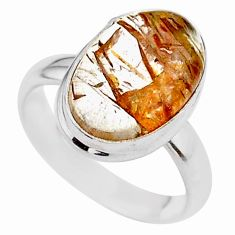 925 silver 6.78cts solitaire natural golden tourmaline rutile ring size 7 t27633