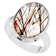925 silver 8.69cts solitaire natural golden tourmaline rutile ring size 7 t27636