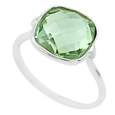 925 silver 4.97cts solitaire natural green amethyst cushion ring size 6.5 t50684