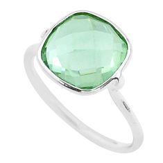 925 silver 5.08cts solitaire natural green amethyst cushion ring size 7.5 t50710