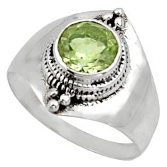 925 silver 2.33cts solitaire natural green amethyst round ring size 8.5 r40873